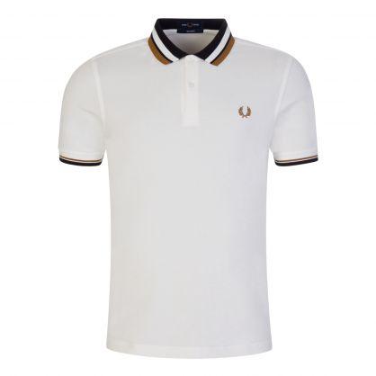 Reissues White Contrast Collar Pique Polo Shirt