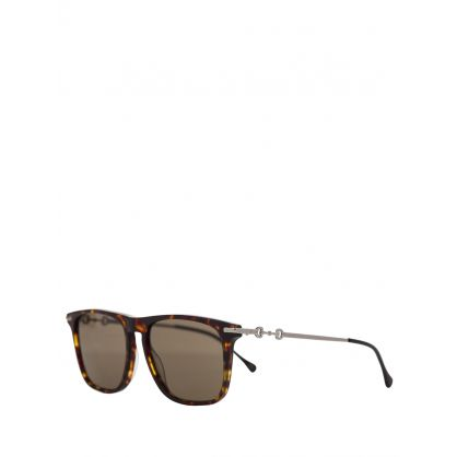 Brown Square-Frame Sunglasses