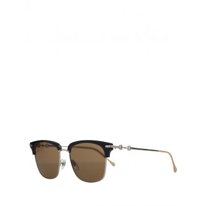 Black/Silver Square-Frame Sunglasses