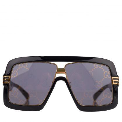 Black/Gold Square-Frame GG Lens Sunglasses