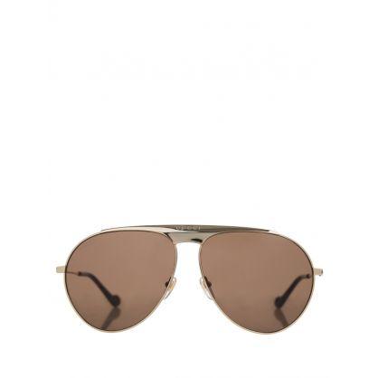 Gold/Brown Aviator Sunglasses