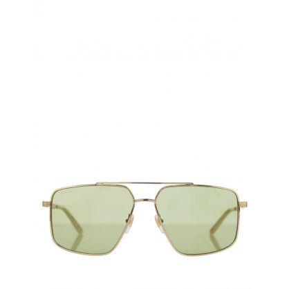 Gold/Green Square Aviator Sunglasses