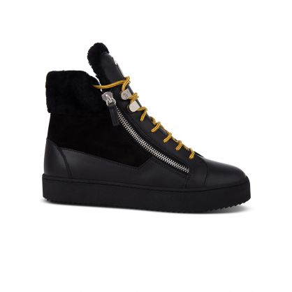 Black Mid-Top Fur-Lined Trainers