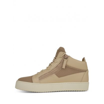 Beige Mid-Top Trainers