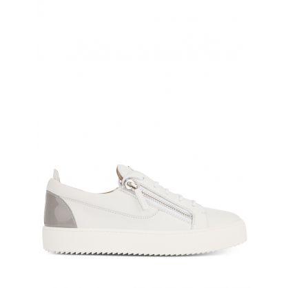 White/Grey Contrast Heel Trainers