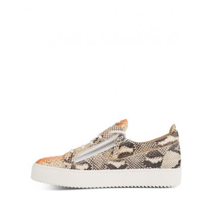 Beige Leather Snake-Print Trainers