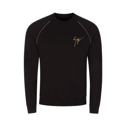 "Black ""Living Room"" Signature Logo Sweatshirt"