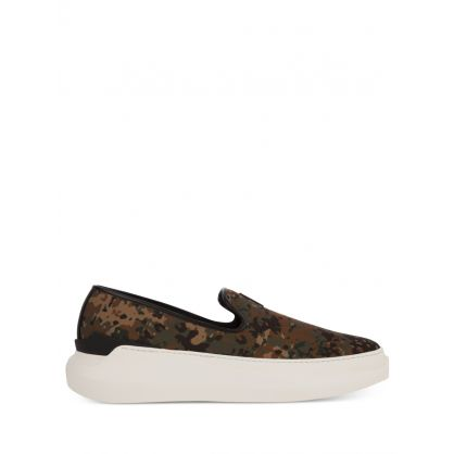 Green/Brown Camouflage-Effect Conley Trainers