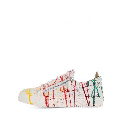 White Multicolour 'Spot' Motif Frankie Trainers