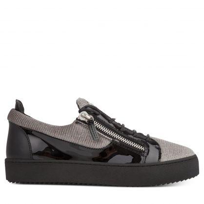 Grey/Black Glittery Zip Trainers