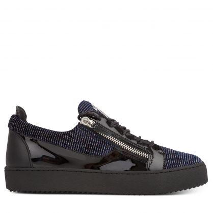 Navy/Black Glittery Zip Trainers