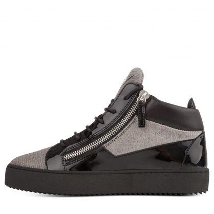 Grey/Black High-Top Glitter Zip Trainers