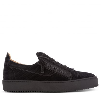Black Patterned Leather Guzman Trainers