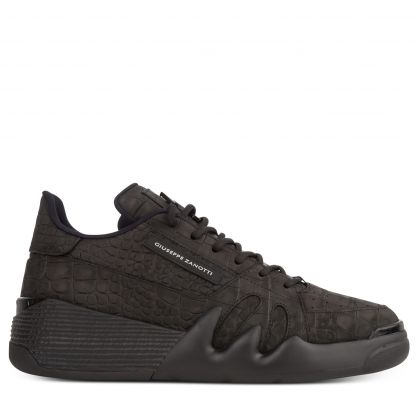 Black Pebbled Leather Federica Trainers