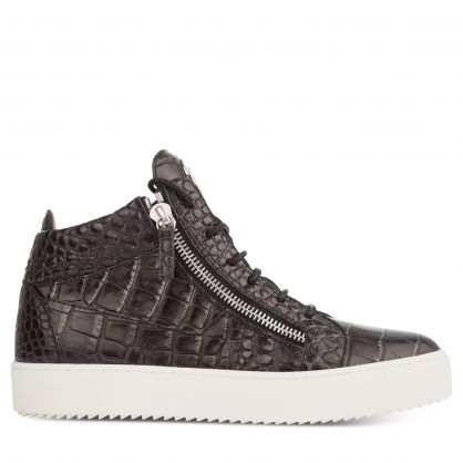 Black Textured Leather Evolution Trainers