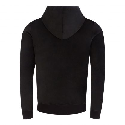 Black Velour Cotton Zip-Through Hoodie