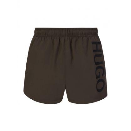 HUGO Dark Green Abas Swim Shorts