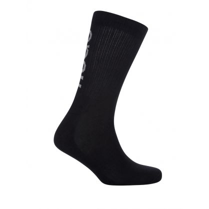 Black Finest Soft Cotton Ribbed Reflective Socks