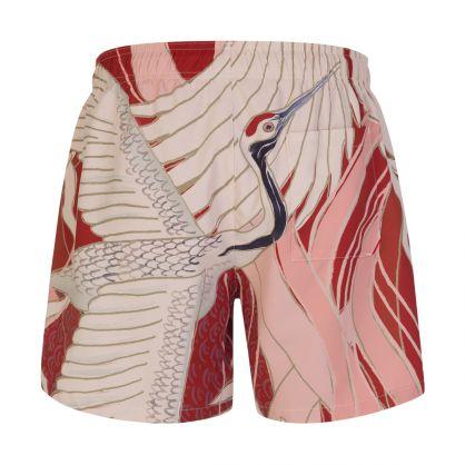 Red/Cream Miso Quick-Dry Swim Shorts