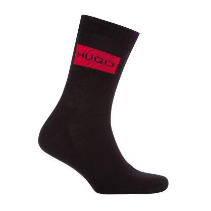 Black Quarter-Length Logo Sports Socks 2-Pack