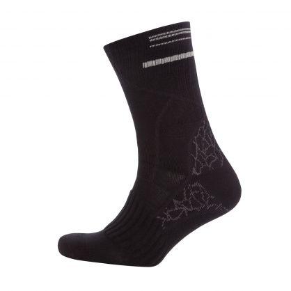 Black Mixed-Structure Cotton-Blend Short Logo Socks