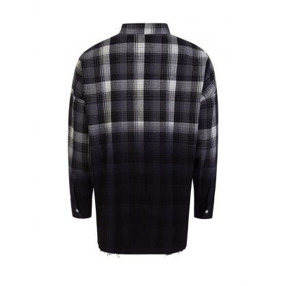 "Grey/Black Oversized ""Hac on Fire"" Dip-Dye Plaid Shirt"