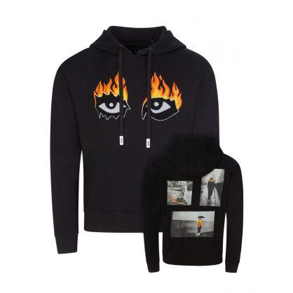"Black Oversized ""Eyes On Fire"" Hoodie"
