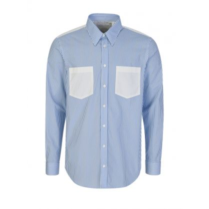 White Striped Logo-Print Shirt