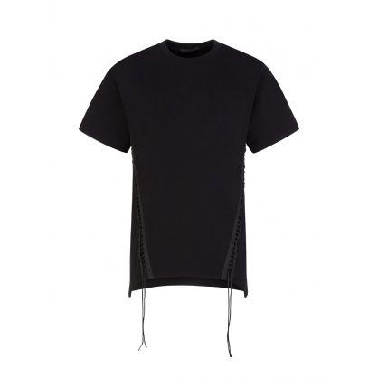 Black Short-Sleeved Laced Sweatshirt Top