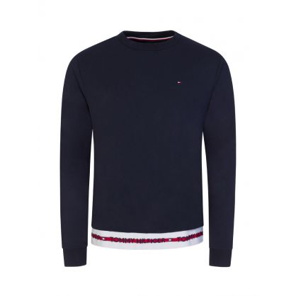 Navy Repeat Logo Track Sweatshirt