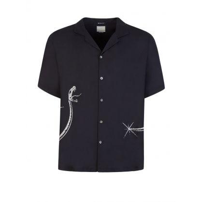 Black Short-Sleeve Serpent Shirt