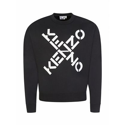 Black Big Cross Logo Sports Sweatshirt
