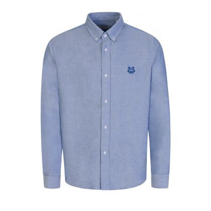 Blue Casual Tiger Crest Shirt
