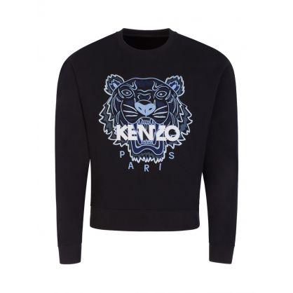 Black Embroidered Tiger Head Logo Sweatshirt