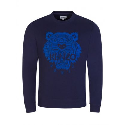 Navy Tiger Embroidered Logo Sweatshirt