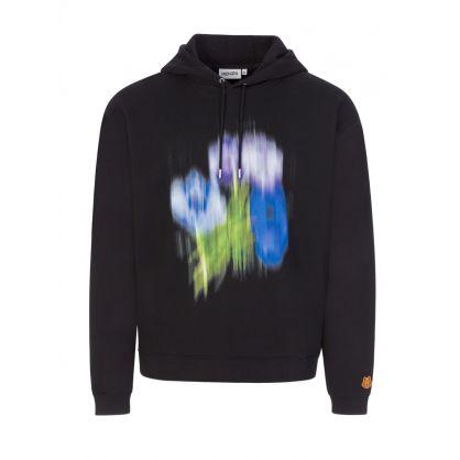 Black Blurred Floral Graphic Print Hoodie