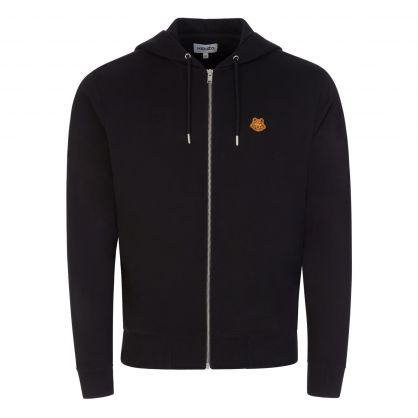 Black Tiger Patch Logo Zip-Through Hoodie