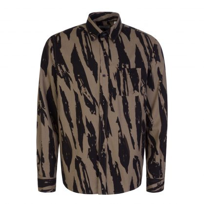 Bronze All-Over Printed Cotton Poplin Shirt