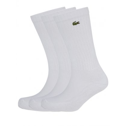 White Sport High-Cut Cotton Socks 3-Pack