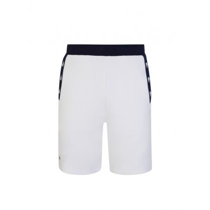 White/Navy Contrast Accents Fleece Shorts
