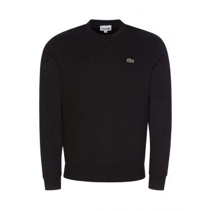 Black Sport Cotton-Blend Fleece Sweatshirt