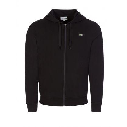 Black Sport Lightweight Bi-Material Hooded Zip-Through