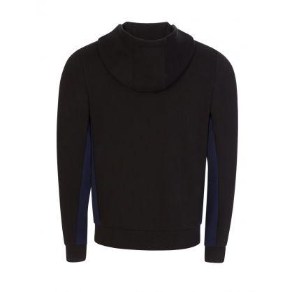 Black/Navy Colour-Block Fleece Hooded Zip-Through