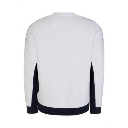 White Colour-Block Fleece Sweatshirt