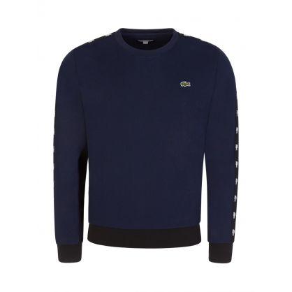 Navy Colour-Block Fleece Sweatshirt