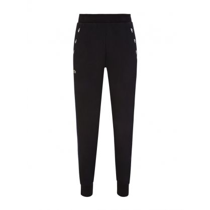 Black Contrast Accents Fleece Tracksuit Sweatpants
