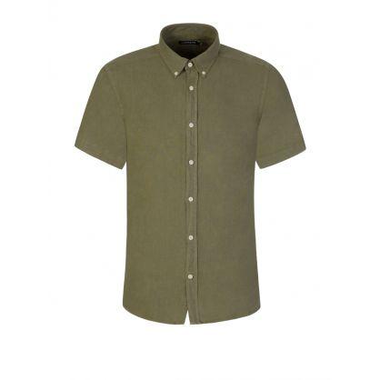 Green Slim-Fit Short-Sleeve Clean Linen Shirt