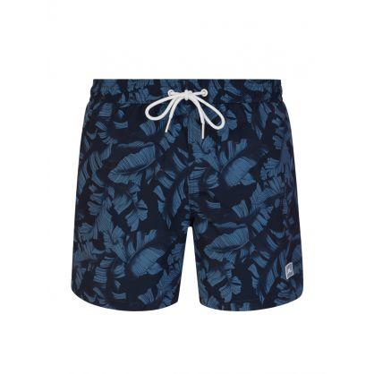 Navy Banks Leaf Pattern Swim Shorts