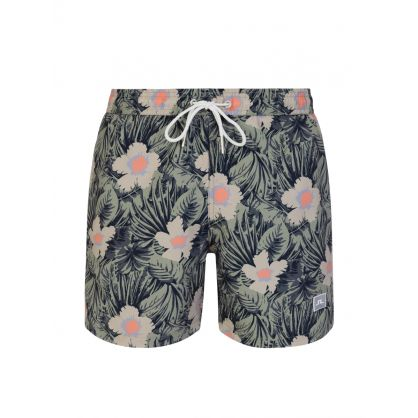 Green Banks Floral Pattern Swim Shorts