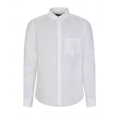 White Linen Melange Slim Fit Shirt